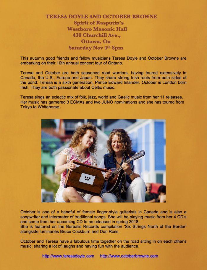 Teresa Doyle & October Browne performing, ad text